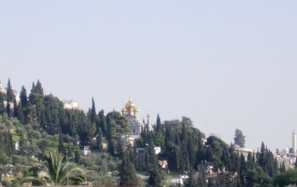 Маслинскa или Јелеонска гора у низу Гетсиманијa и на дну се налази Јосафатова долина